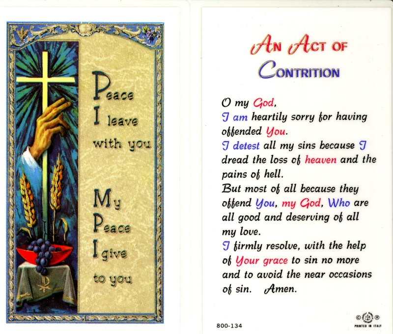 graphic regarding Act of Contrition Prayer Printable identify The Gentle is Upon for Yourself