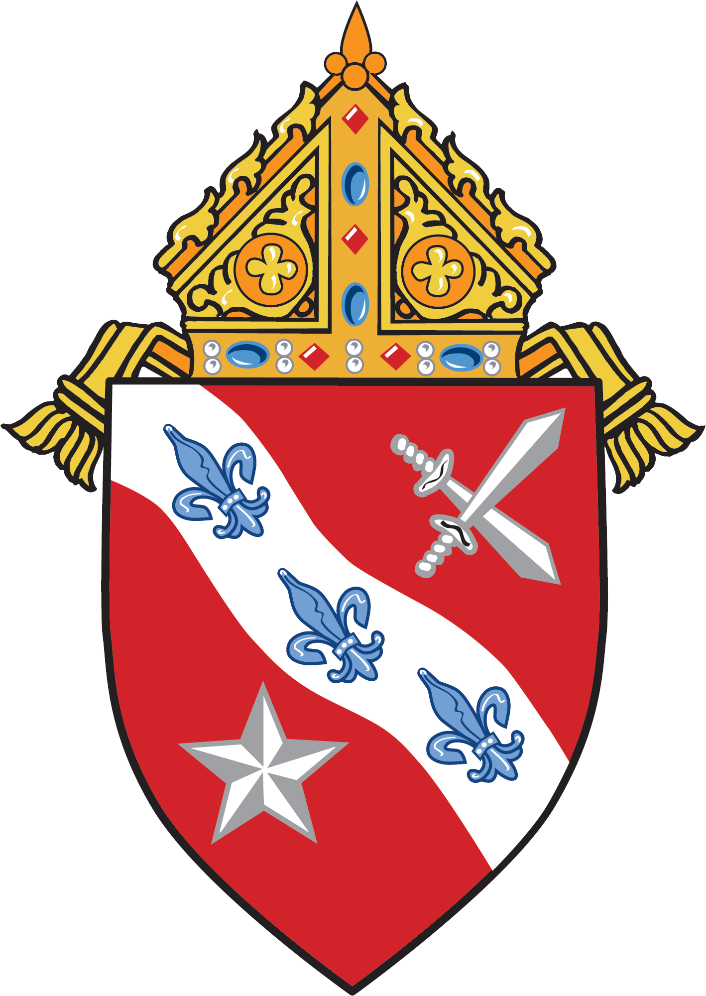 Catholic diocese of dallas the wavy line represents the trinity river whose original name was most holy trinity three fleurs de lis represent the trinity buycottarizona Image collections