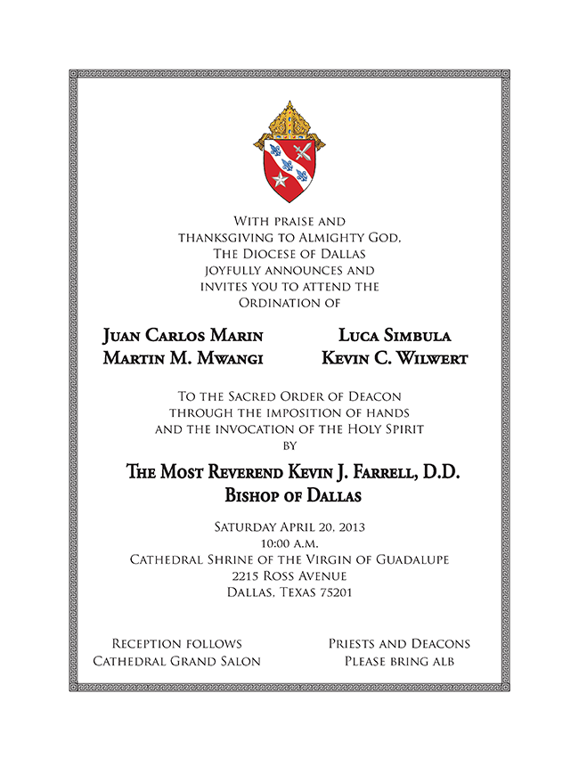 Transitional Diaconate Ceremony To Be Streamed Live From